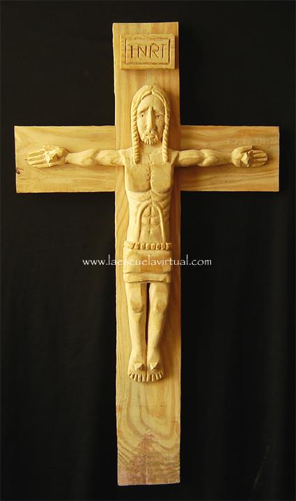 cristo tallado en madera de cedro al natural rustico cruz realizada en madera de pino